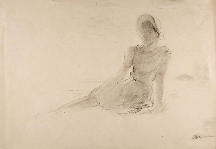 Дейнеко Ольга Константиновна (1897–1970) «Портрет дочери». 1950-е. Бумага, графитный карандаш, 31x43,7см.