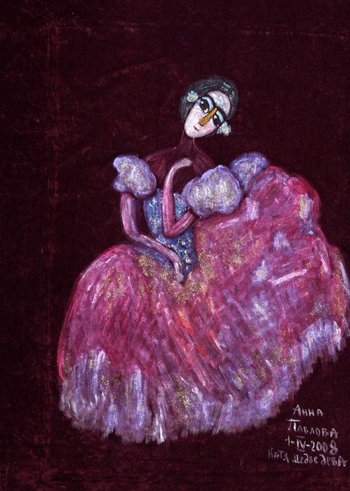 Медведева Катя (род.1937) «Анна Павлова». 2008. Бархат, смешанная техника, 110x82,5см (без подрамника).
