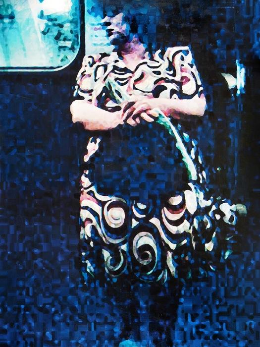 Файбисович Семен Натанович (род.1949) «Встиле модерн» изцикла «Опять метро». 2012. Холст, смешанная техника, масло, 195x145см.