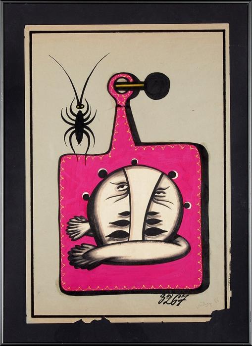 [Продано вЛитфонде за90000руб.] Повзнер Лев Александрович. Фигура №3267. 1966. Бумага, смешанная техника.67,5x45см; враме размером 79x55,5см.