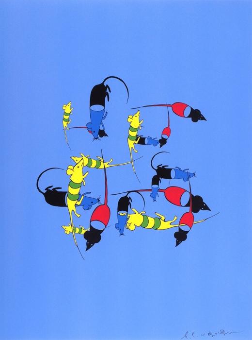 Семенов Евгений. Мыши дискурса наголубом.2012. Цветная шелкография. 40x30см. Смонограммой художника напередней части листа исего развернутой надписью наобороте.