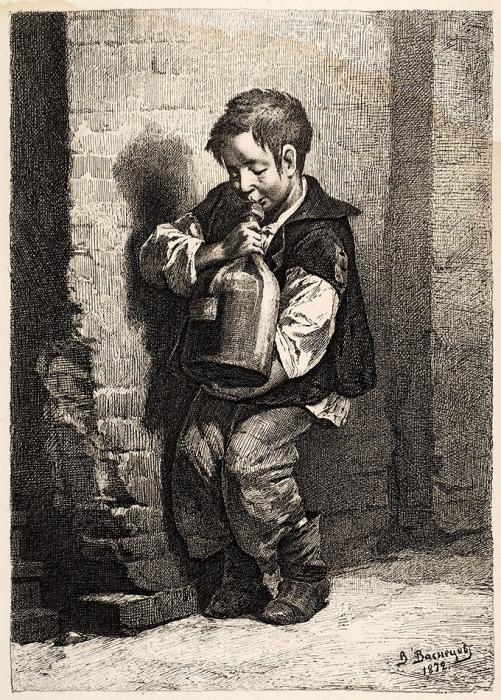 Васнецов Виктор Михайлович (1848–1926) «Бутыль». 1872. Бумага, офорт, 20,8x15см (лист), 19x13,5см (оттиск).