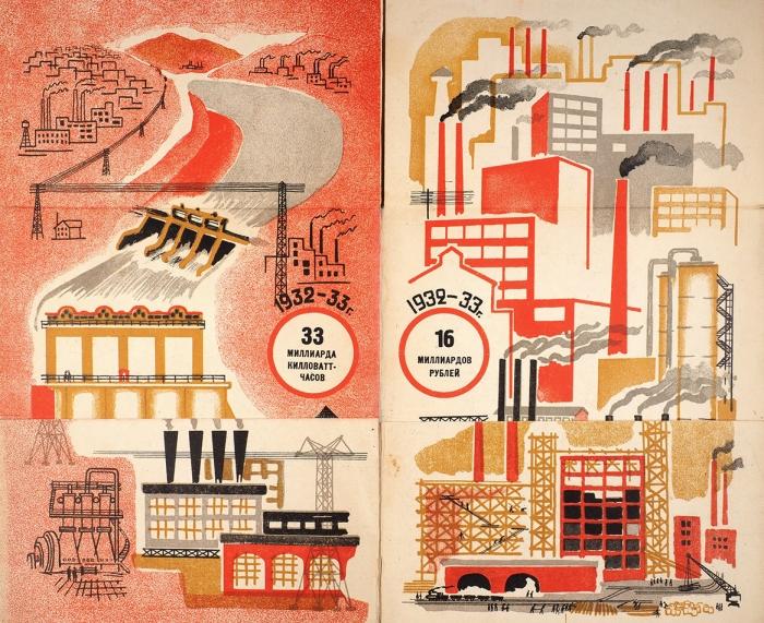 [Редчайшая книжка-гармошка. Первая книга опервой пятилетке] Пятилетка/ рисунок имакет А.Лаптева, [текст К.Пискунова]. М.: Госиздат, 1930.