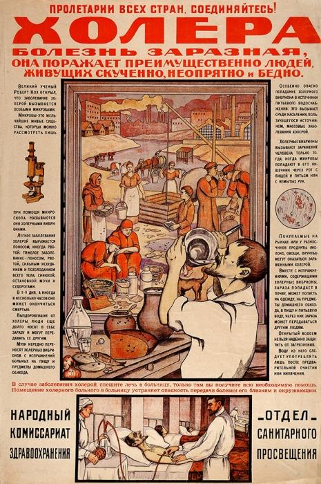 Санитарно-просветительный плакат «Холера болезнь заразная, она поражает преимущественно людей, живущих скученно, неопрятно ибедно». [М.: Нар. ком. здравоохранения; Отд. сан. просвещения, 1919].