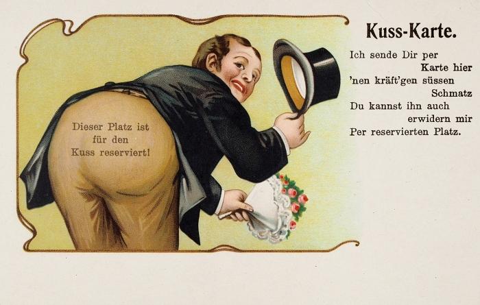 Восемь юмористических хромолитографированных открыток, обыгрывающих разные жанры человеческих взаимоотношений. Германия, нач. ХХв.