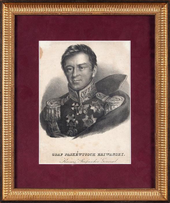 Неизвестный литограф пооригиналу Доу (Dawe) Джорджа (1781–1829) «Граф Паскевич-Эриванский». Первая четверть XIXвека. Бумага, литография, 22x16,5см (лист всвету).