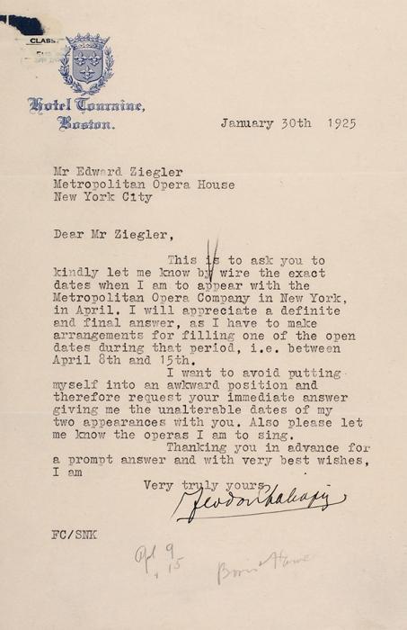 [Автограф Ф.И. Шаляпина] Письмо Ф.И. Шаляпина кЭдварду Зиглеру вМетрополитен Опера вНью-Йорке. [Наангл.яз.]. Бостон, 30января 1925.