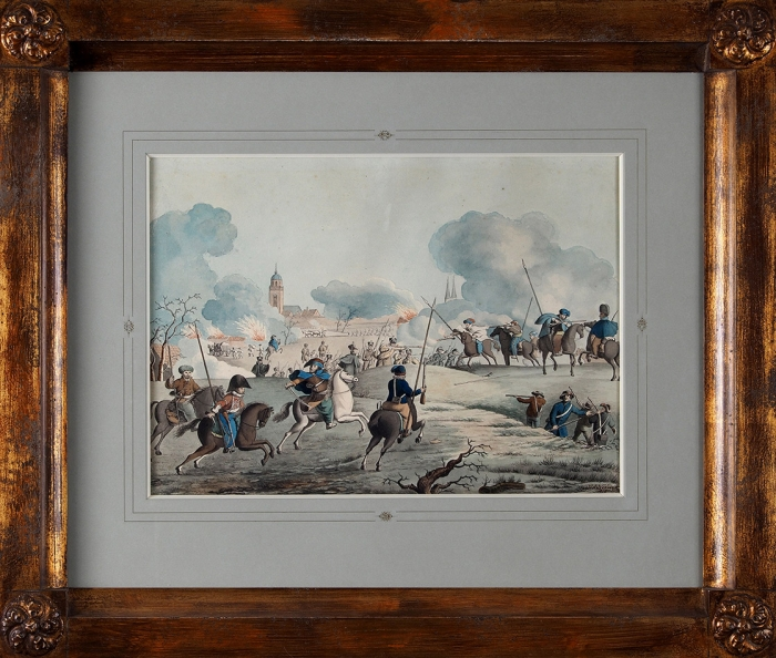 Нурдек Х.А. (Noordyk H.A) «Атака казаков». 1819. Бумага, акварель, карандаш.27,5x38см.