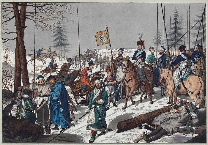 Зеле Иоган Батист (Johann Baptist Seele) (1774–1814) «Гетман граф Платов иего казаки». Поживописному оригиналу И.Г. Шадова. 1810-е. Бумага, акварель, белила, карандаш.33,5x49см (всвету).