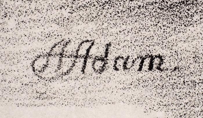 Адам Альбрехт (Albrecht Adam) (1786-1862) «Наполе битвы под Москвой 8сентября». Лист изальбома «Живописное ивоенное путешествие изВилленберга вПруссии вМоскву, совершенное в1812году». 1827. Бумага, литография, 21,2x31см (лист обрезан).