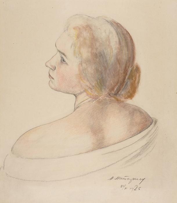 [Изсобрания наследников художника] Маторин Михаил Владимирович (1901–1976) «Портрет жены художника». 1925. Бумага, графитный ицветные карандаши, акварель, 31x26,5см.