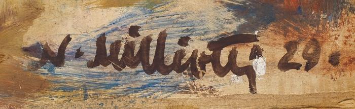 [Собрание К.В. Махрова] Милиоти (Миллиоти) Николай Дмитриевич (1874–1962) Эскиз костюма.1929. Бумага, масло, 32,2x24,5см.