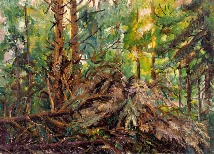 Ермилова-Платова Ефросинья Федосеевна (1895–1974) «Бурелом». 1930. Картон, масло, 38x53см.