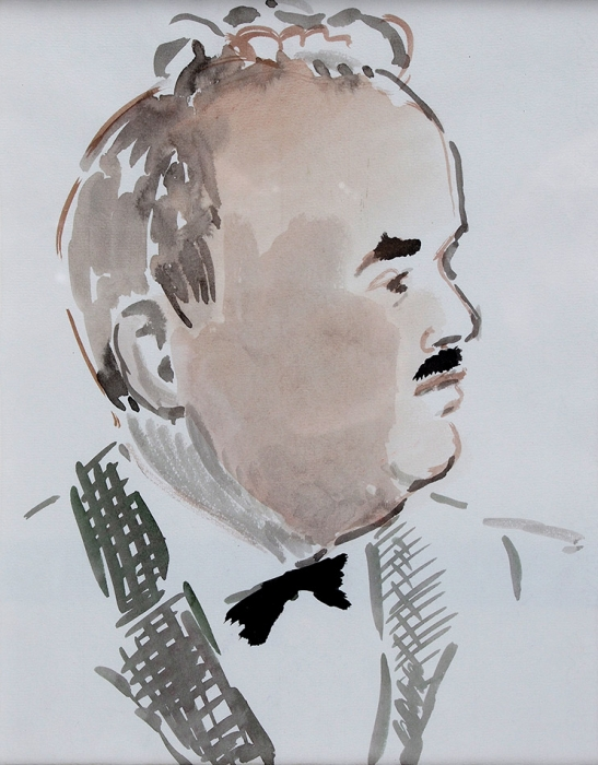 Софронова Антонина Фёдоровна (1892–1966) «Портрет Д.Б. Дарана». 1930-е. Бумага, акварель, 34x28см.