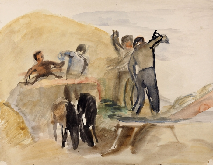 Горшман Михаил Ефимович (Мендель Хаимович) (1902— 1972) «Вполе». Наобороте «Скирдуют сено». 1930-е. Бумага, акварель, 36x45,5см.