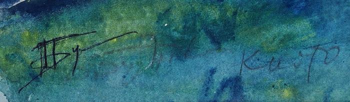 [Собрание Г.А. Керселидзе] Бубнова Варвара Дмитриевна (1886–1983) «Киото. Рыбак нафоне дома». Конец 1930-х. Бумага, смешанная техника, 39x31см.