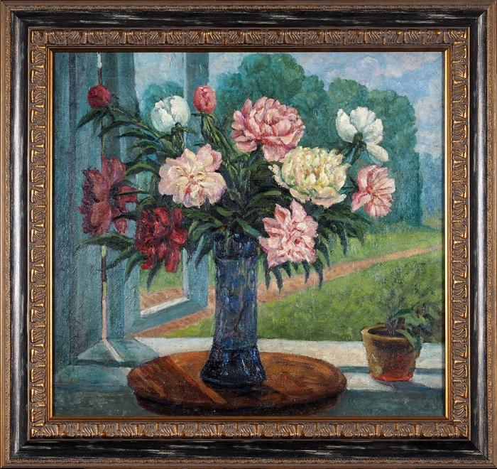 Рябушинский Николай Павлович (1877–1951) «Букет всиней вазе». 1940. Холст, масло, 62x67см.