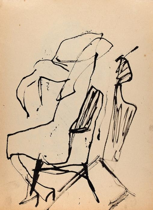 [Собрание Г.Д. Костаки] Зверев Анатолий Тимофеевич (1931–1986) «Профиль». 1955-1959. Бумага, тушь, кисть.
