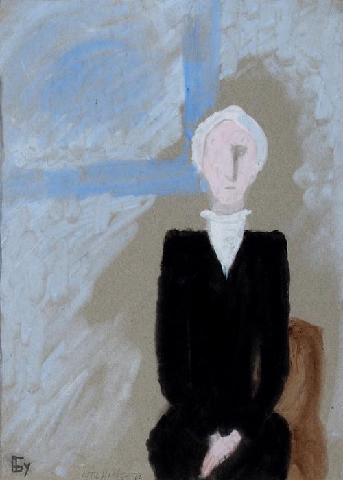 [Собрание Г.А. Керселидзе] Бубнова Варвара Дмитриевна (1886–1983) «Хранительница музея». 1965. Бумага, смешанная техника, 44,5x32см.