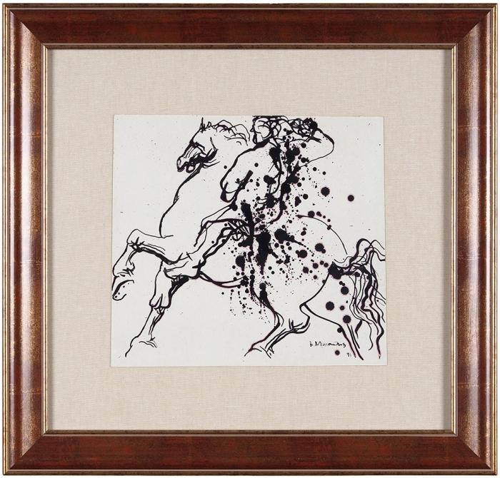 Михайлов Вячеслав Саввич (род.1945) «Всадник». 1993. Бумага, авторская техника, 25,5x28см.