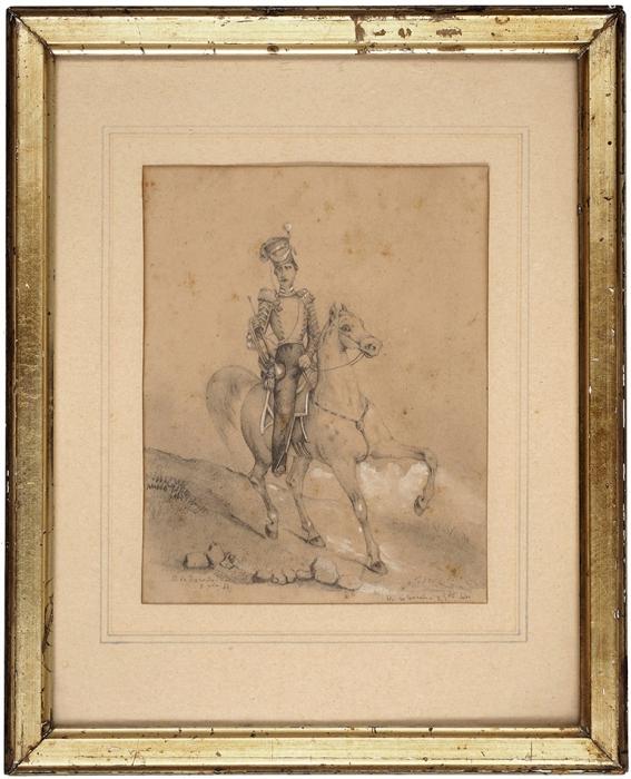 O. deCarade «Трубач Лейб-гвардии Уланского полка». 1844. Бумага, графитный карандаш, белила, 15x11,8см.