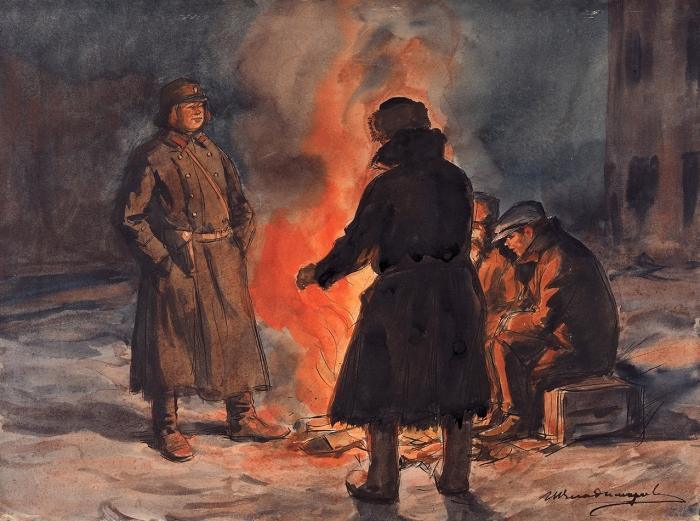 Владимиров Иван Алексеевич (1870–1947) «Петроград.1919год». 1919. Бумага, тушь, перо, акварель, 25,4x34,3см.