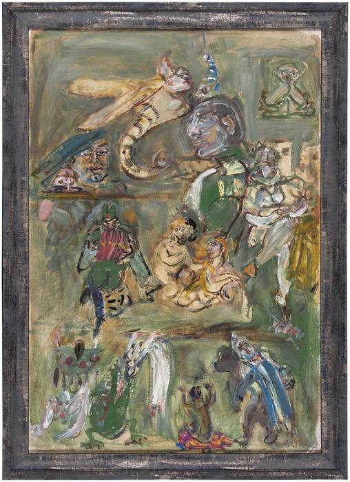 Конышева Натта Ивановна (род.1935) «Антикварный салон». 2008. Оргалит, масло, 66,3x45,6см.