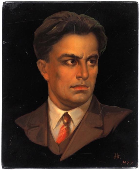 [Товарищ Катанян? Здрасьте!] Плакетка: Портрет В. Маяковского. Федоскино, 1950-1960-е гг.