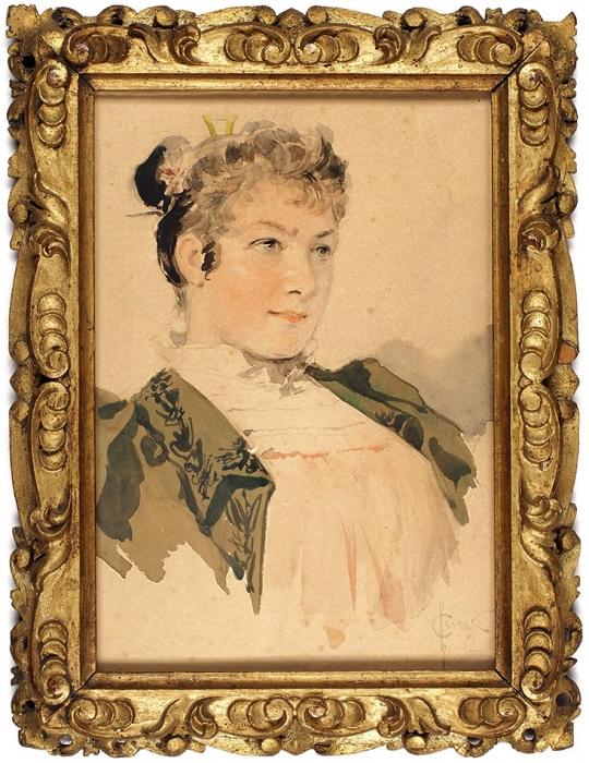 Соломко Сергей Сергеевич (1867–1928) «Женский портрет». 1894. Бумага, графитный карандаш, акварель, 19,5x13,5см (всвету).