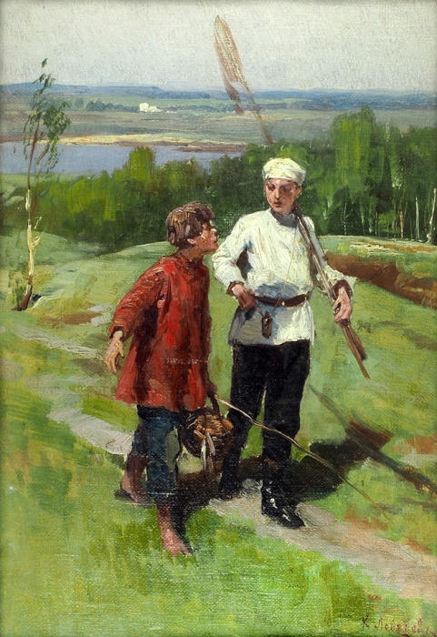 Лебедев Клавдий Васильевич (1852–1916) «Срыбалки». 1895. Холст накартоне, масло, 27,7x19см (всвету).