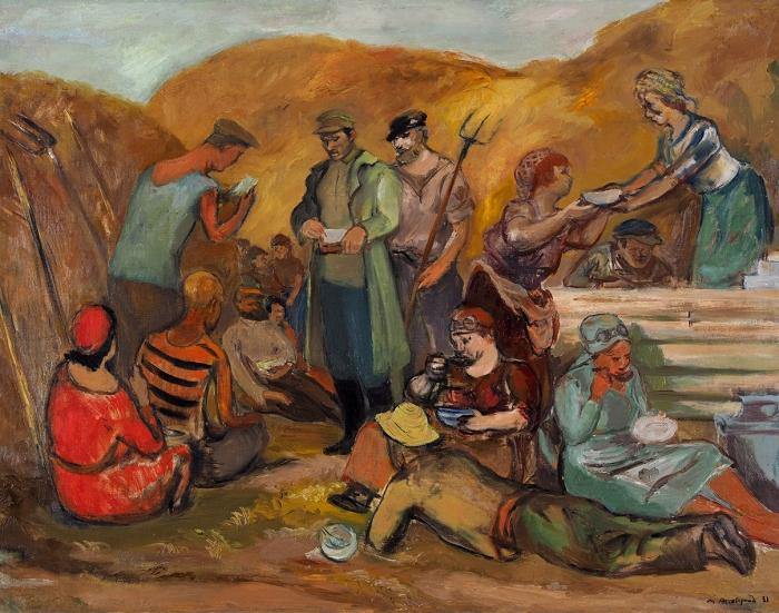 [Собрание Gaby иAmi Brown] Аксельрод Меер Моисеевич (1902–1970) «Обед вполе». Изсерии «Встепи». 1931. Холст, масло, 73x92см.
