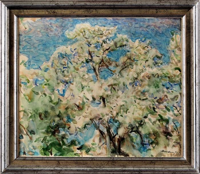Невельштейн Самуил Григорьевич (1903–1983) «Цветущее дерево». 1943. Бумага, акварель, 37x43см.