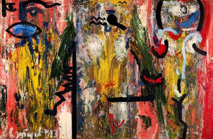Зубарев Владислав Константинович (1937–2013 «Семья. Трое». 1983. Холст, масло, 97x147см.