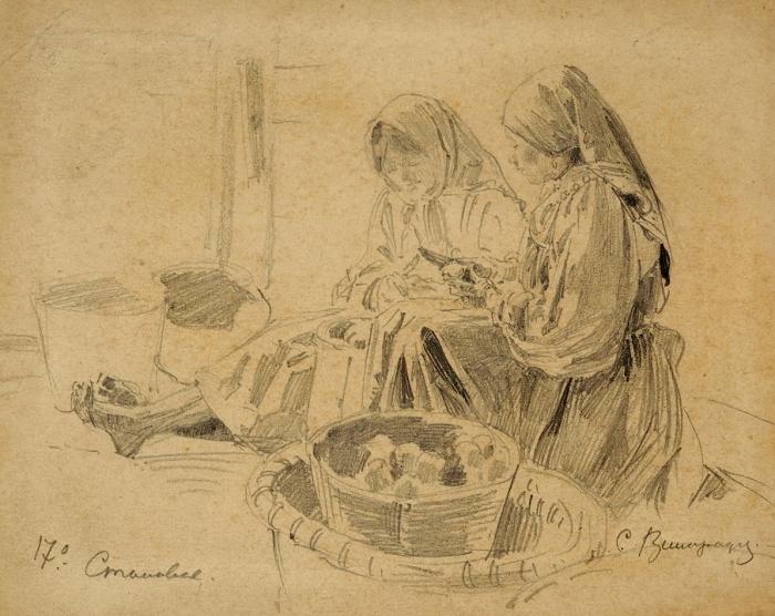 Виноградов Сергей Арсеньевич (1869–1938) «Крестьянские девочки». 1890-е. Бумага, графитный карандаш, 12,3x15,6см.