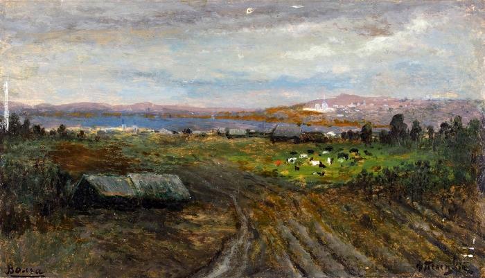 Пелецкий Федор Федорович (1853–1916) «Волга». Начало ХХвека. Картон, масло, 13,8x24,2см.