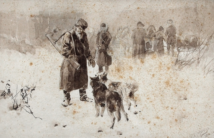 [Собрание Ю.Г. Епатко] Френц Рудольф Рудольфович (1888–1956) «Вожидании окладчиков (Охота)». 1906. Бумага, сепия, 13,8x21,3см.