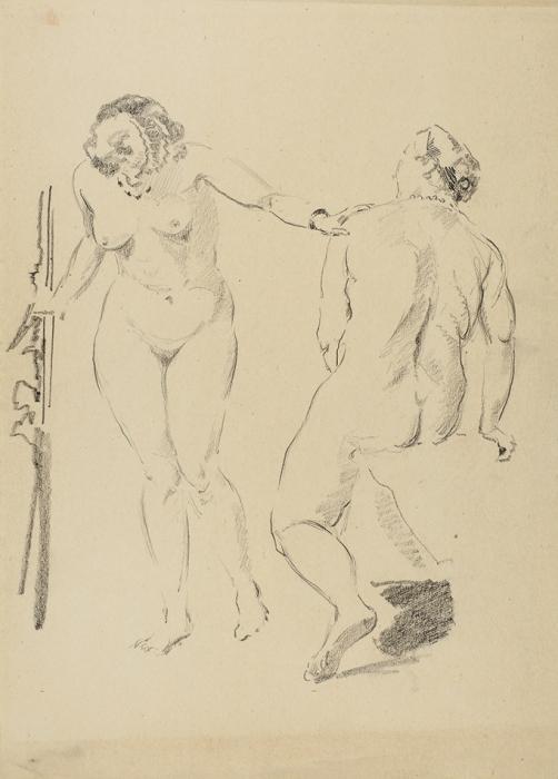 Лобанов Сергей Иванович (1887–1943) «Натурщицы». 1930-е. Бумага, графитный карандаш, 29x21см.