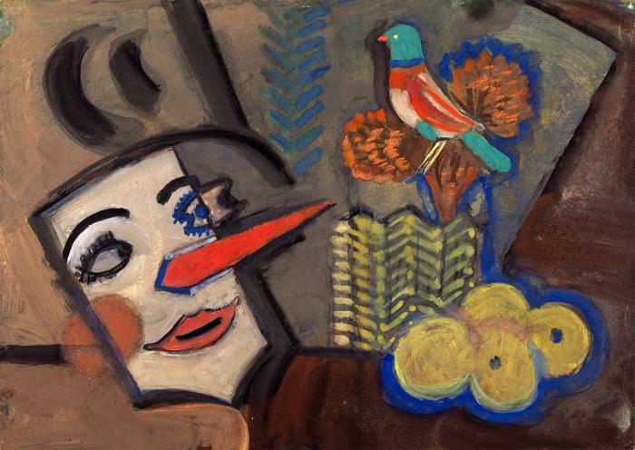 Стерлигов Владимир Васильевич (1904–1973) «Композиция смаской». 1956. Бумага, гуашь, 26,5x37,5см.