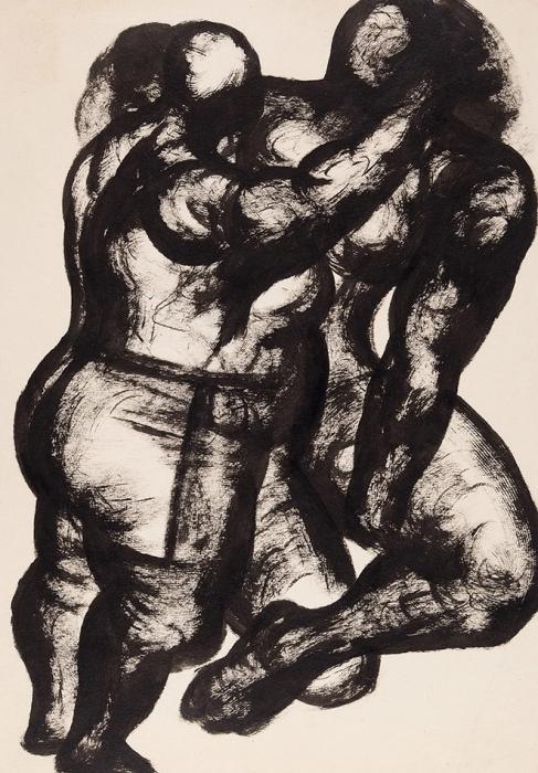 Чубаров Евгений Иосифович (1934–2012) «Двое». 1980-е. Бумага, тушь, 29,5x21,5см.