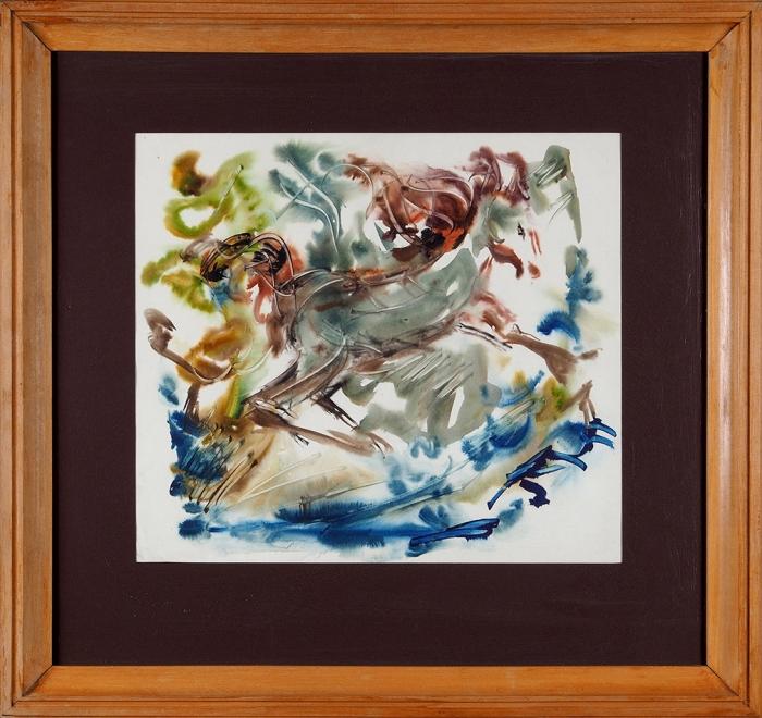[Собрание Ю.Г. Епатко] Зверев Анатолий Тимофеевич (1931–1986) «Конь». 1980-е. Бумага, акварель, 41,5x46,5см.