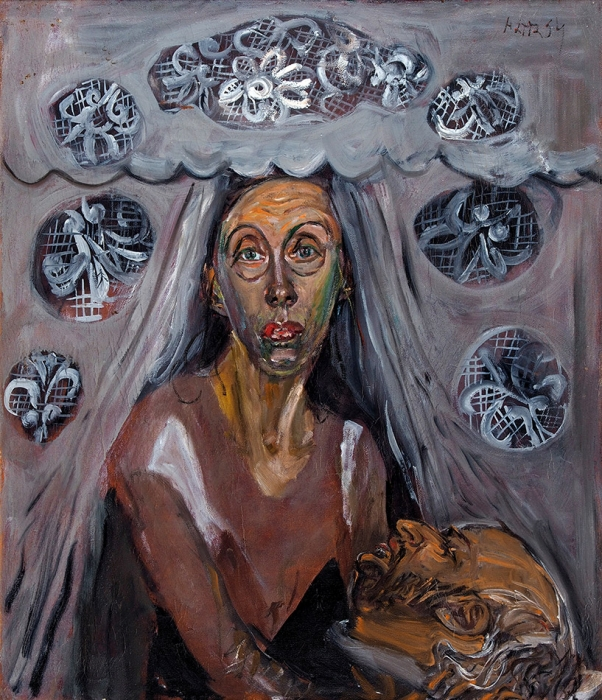 Конышева Натта Ивановна (род.1935) «Художница игалерейщик». 1994. Холст, масло, 70x60см.