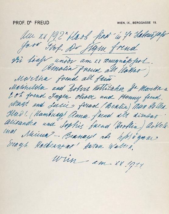 [Уникальный документ музейного уровня] Собственноручное письмо Зигмунда Фрейда. [Нанем.яз.]. Берггасс, 10мая 1920.