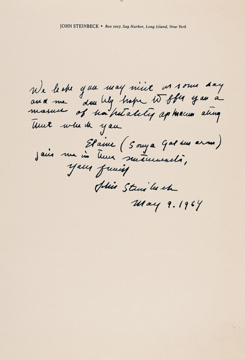 Собственноручное письмо Нобелевского лауреата Джона Стейнбека. [Наангл.яз]. Нью-Йорк, дат.9мая 1964.
