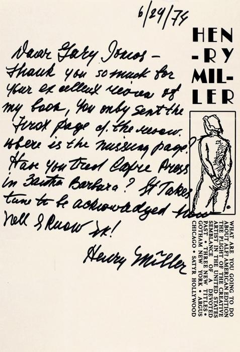 Собственноручное письмо писателя Генри Миллера. [Наангл.яз.]. [Лос-Анджелес], 1974.