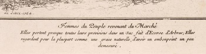 Лепренс (LePrince) Жан-Батист (1734–1781) «Женщины возвращаются срынка (Femmes duPeuple revenant duMarche)». 1760-е. Бумага, офорт, 28,9x22,7см (лист).