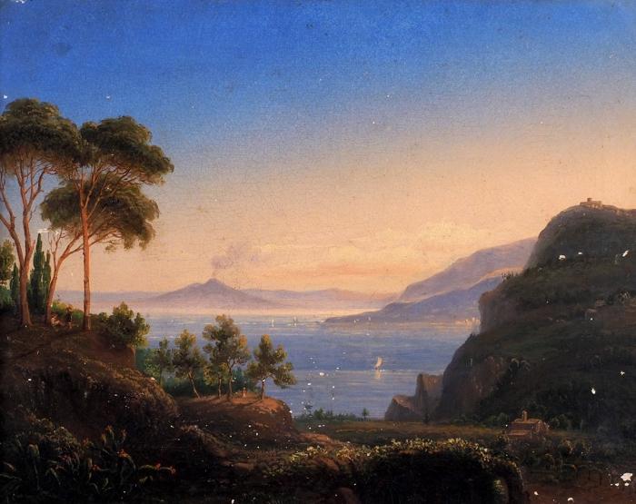 Неизвестный художник «Вид наЭтну». Середина XIXвека. Холст, масло, 35x40см.