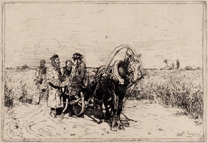 Маковский Владимир Егорович (1846–1920) «Разговор». 1884. Бумага, офорт, 16,5x23,8см (лист), 8,5x12,5см (оттиск).
