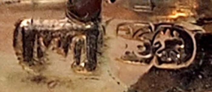 Лоток (подставка) для ручки. Россия, Санкт-Петербург, фирма Фаберже, мастерская М.Е. Перхина. 1888-1894. Золото; агат. Размер11,7x5,5x3см.