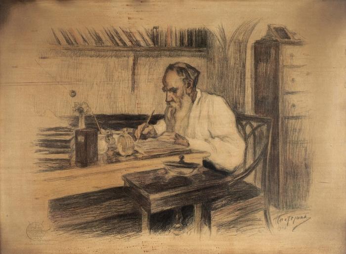 Пастернак Леонид Осипович (1862–1945) «Портрет Л.Н. Толстого». 1908. Бумага, литография, 50x68см (всвету).
