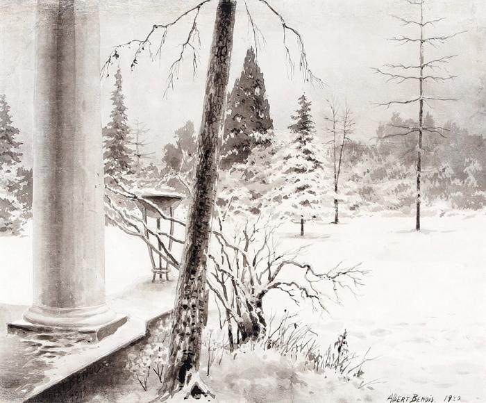 Бенуа Альберт Николаевич (1852–1936) «Зимой встарой усадьбе». 1919. Бумага, акварель, 25,8x31,6см.